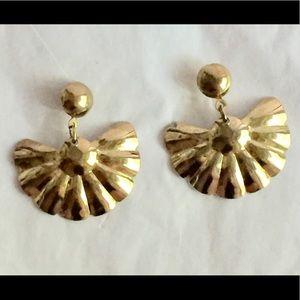 Vintage gold fan dangle earrings